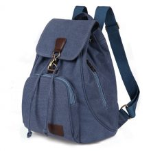 Women's Casual Capacious Canvas Backpack without Pattern