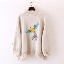 Women's Warm Long Sleeved Cardigan with Embroidery (PID1531)