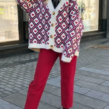 Women's Geometric and Heart Patterned Cardigan (PID1532)