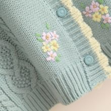 Women's Knitted Cardigan With Floral Embroidery (PID1533)