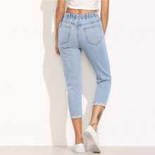 Women's  Casual Ripped Design Blue Jeans (PID1516)